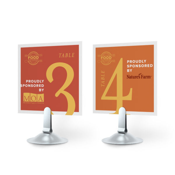 event stands holding posters