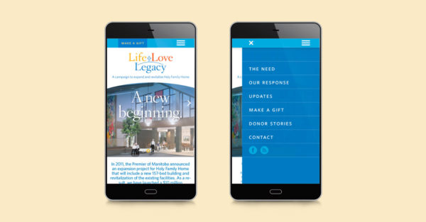 Life Love Legacy - Holy Family Home mobile layout presented on a cellular device