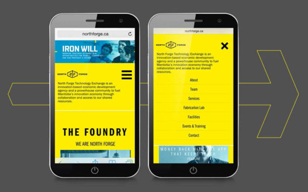 north forge website shown on handheld device
