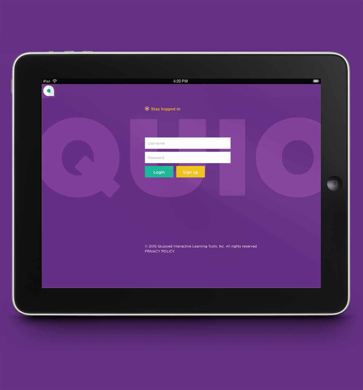 quio learning app on tablet