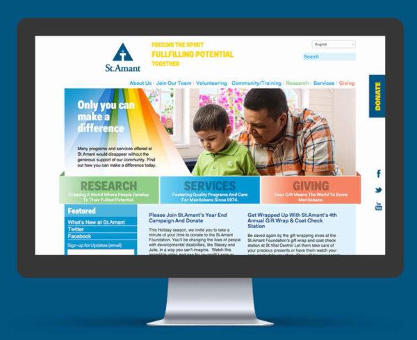 st amant website displayed on desktop computer screen