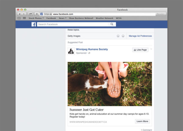 Winnipeg Humane Society facebook advertising