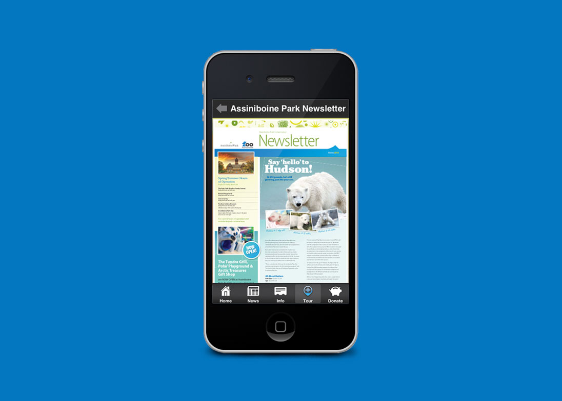 pages from the Assiniboine Park app displayed on a handheld device
