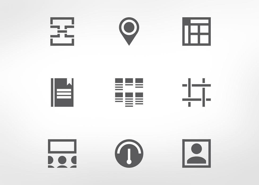 Quio app icons - grayscale